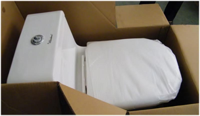 The toilet seat that comes with the Magic Flush toilet is then installed before packaging and shipment. The innovative soft drop seat has a specialized hinge system that allows the seat to slowly fall for ten seconds. This system ensures that the toilet seat is guided down gently and that a startling crashing noise of a toilet seat never occurs in a home with a Whitehaus® Magic Flush toilet.