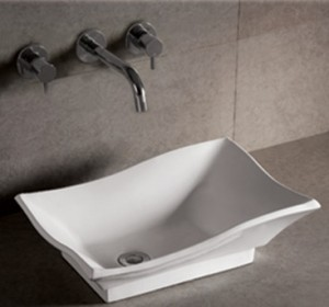 Isabella sink by Whitehaus Collection rectangular above mount with offset drain
