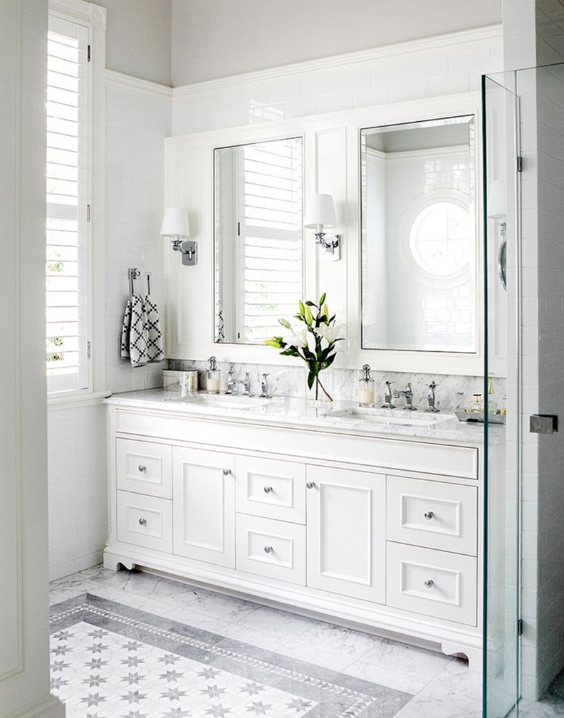 Why white bathrooms work kitchen bath trends for Latest trends in master bathrooms