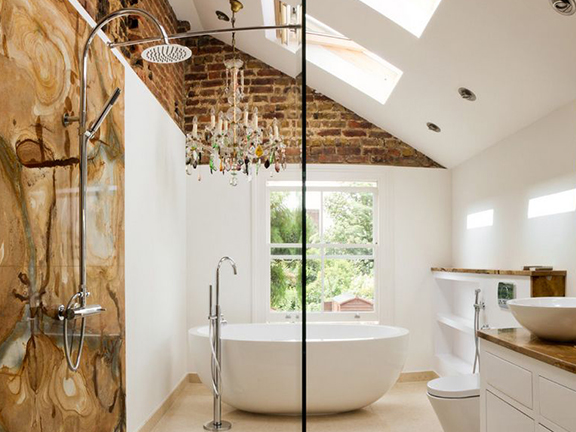 Warm Up Your Bathroom With Exposed Brick | Kitchen Bath Trends