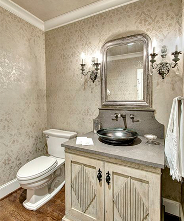 Stylish bathroom backsplashes kitchen bath trends for Wallpaper trends for bathrooms